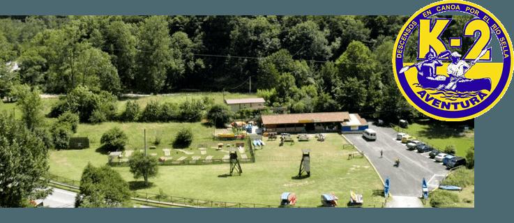 Instalaciones de K2 a orilla del río Sella en Cangas de Onís, Asturias